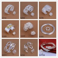 Wholesale 6 sets mixed style women s sterling silver jewelry sets brand new fashion silver Bracelet Ring jewelry set GTS43 factory direct sale