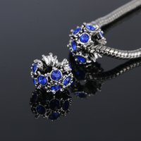 Wholesale pc Alloy Bead Leaves Charms With Crystal Charm Beads Fit Women Pandora Bracelets Bangles DIY Jewelry