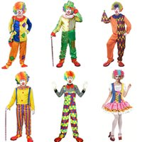 Wholesale Clown Costume sets Festivals Cosplay Adult Clown Costumes Clown Clothes wigs for Holloween Christmas New Year festivals performance party sh