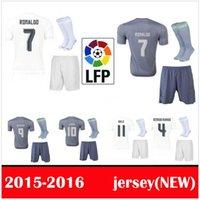 Wholesale 15 Real Madrid soccer jerseys gray camisetas de futbol Ronaldo Full Sets Football Shirts Shorts Socks Good Quality
