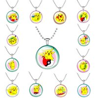 badge chain necklace - Pikachu Eevee Evolution Pokeball Pendant Glass Dome Necklace Poke Go Jewelry Fashion Poke Go Birthday Friendship Gift Badge Anime Manga