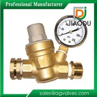 Wholesale Adjustable Water Pressure Regulator Lead free Brass Adjustable Water Pressure Reducing valve for RV with Gauge and Inlet Screened Filter