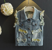 Wholesale 2016 Girls Outfits Children Clothes Kids Clothing Denim Jacket Summer Lace White Shorts Girl Dress Children Set Kids Suit Outfits