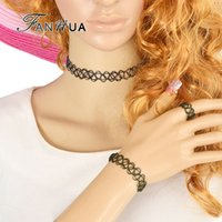 Wholesale Gothic Style Jewelry sets Black Fishing line Hollow Out Tattoo Choker s Necklace Bangles and Ring