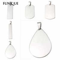 Wholesale FUNIQUE Stainless Steel Stamping Blanks DIY Dog Tag Pendants Necklaces Unique Lettering Makings Findings Waterdrop Square