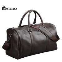 Wholesale Baigio Genuine Leather Weekend Men Travel Bag Large Capacity Luggage Handbag Shoulder Duffle Bag