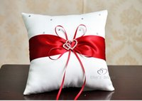 Wholesale Red Wedding Ceremony Bowknot Double Heart Rhinestone Decorations Satin Ring Pillow cm Party Decor Products Wholesales