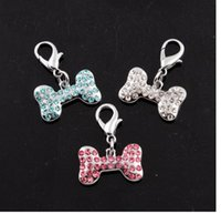 Wholesale ssparkling crystal bone style dog pendant for dogs collar pet dog tags three color is available
