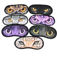 Wholesale Cat Printed Pattern Eye Sleep Masks Travel Aid Sleeping Blindfold Rest Eyeshade