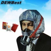 Wholesale Emergency Escape Hood Oxygen Mask Respirator Disposable Minutes Fire Smoke Toxic Filter Gas Big Visor Firemask First Aid Kit Hard Case CE