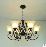 Wholesale New Design Retro Classical Luxury European Chandelier Iron Body with Glass Lamp Shade Pendant Light