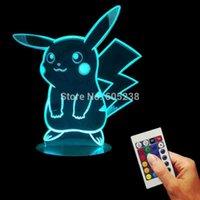 action sculpture - 1Piece Go Action Figure Remote Controlled D Hologram Illusion Night Light Pikachu Art Sculpture Lights