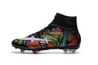 Wholesale 2016 original Superfly FG CR7 Black silvery Football Boots Men Soccer Shoes Botas Futbol Hombre Outdoor Soccer Cleats Soccer Boots