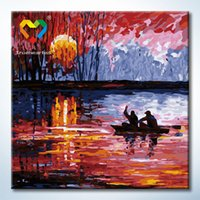 baby boating - Boating Wall Art DIY Painting Baby Toys x40cm Artistical Canvas Oil Painting Drawing Wall Art for Home Decoration with Green Acrylic