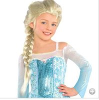 Wholesale fashion Synthetic Cosplay hair long Curly hair wigs Frozen Snow Queen Anna Elsa Long Braid Anime Wigs