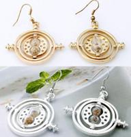 Wholesale 2016 Harry Potter Time Turner Dangle Earrings womens gold silver Hourglass Drop Earrings For Fashion Fans jewelry