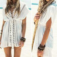 Wholesale New Arrivals Women s Lady s Bikini Cover Ups Swimwear Sunscreen Clothing Beach Dress Beachwear Deep V Chiffon ED400