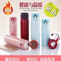 Wholesale The Korean version of stainless steel vacuum thermos cup cover bounce straight body warm pot Cup vehicle hours holding office