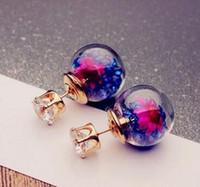 Wholesale Hot Europe Fashion Jewelry Cute Glass Ball Rhinestone Flower Stud Earrings Women s Elegant Earrings