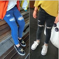 Wholesale Girls Jeans Kids Pants Ripped Jeans Korean Girl Dress Denim Trouser Spring Tapered Jeans Children Clothes Kids Clothing