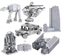 Wholesale Metal D metal assembly Toy model DIY Star Wars R2B2 Robot Tie Fighter D Metallic Nano building puzzle free DHL