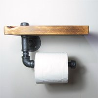 antique deals - Toilet paper holder DIY Industrial Retro Wall Pipe Shelf Deal Urban Industrial Wall Mount Iron Pipe Toilet Paper Holder Roller With Wood