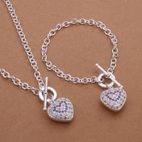 Wholesale jewelry silver plated Jewelry Set Fine Fashion Zircon Charm Pendant Silver Jewelry sets Necklace Bracelet