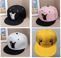 Wholesale 4colors Poke Hats Snapback Cotton Baseball Cartoon Children Adult Sports Hip Hop Picacho baseball Hats hockey Sport Hat D855