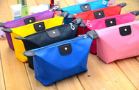 Wholesale 2015 New candy Cute Women s Lady Travel Makeup Bags Cosmetic Bag Pouch Clutch Handbag Casual Purses Dumpling type cosmetic gift purse DHL
