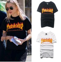 al por mayor fábrica de camisas hombre-Venta de descuento de fábrica! Thrasher Camiseta de Thrasher de la llama de la llama de Wome de los hombres Camisetas de las camisas de Hip Hop de la revista del monopatín del palacio Tops Baskeball