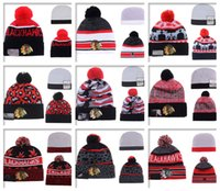 bamboo yarns - 2016 Hot Sale CHICAGO BLACKHAWKS Hockey Beanies Team Hat Winter Caps Popular Beanie Caps Skull Caps Best Quality Sports Beanies
