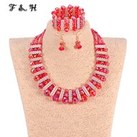 amazing handmade jewelry - Amazing African Beads Jewelry Set Handmade Braided Crystal Beads Necklace Set Nigerian Wedding Accessories Bride Bracelet