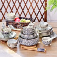Wholesale Underglaze color tableware bowl suits Jingdezhen ceramic dinnerware dishes spoon