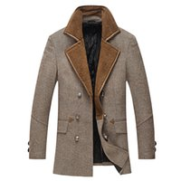 Wholesale Fall Long Wool Blend Trench Coat Men Fashion Double Breasted Military Style Pea Coat Winter Mens Casual Outwear Overcoat