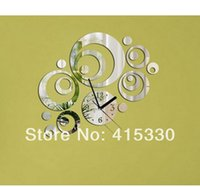 Wholesale Clocks Wall Clocks Silver rounds wall clock mirror wall clock d crystal mirror wall watches michael wall clocks circles