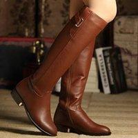 Haute Qualité Femmes Hiver Real Bottes en cuir Chaud Zipper Plissé Pointu Toe Long Mode Bottes Genou Femmes Chaussures Taille 35-43