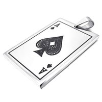 ace skeleton - Men s Silver Ace of Spades Poker Card Punk Rock Style Stainless Steel Pendant Necklace with inch Chain