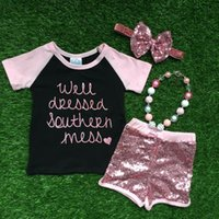boutique clothing - 2016 summer clothes girls short outfit pink sequins short kids boutique outfit with matching headwear and necklace set
