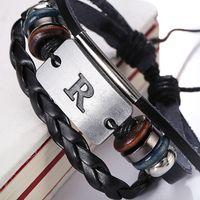 al por mayor pulsera de cuero f-El nuevo alfabeto de la llegada una pulsera hecha a mano genuina de la pulsera del cuero del diseño de F H N R S Z encanta los brazaletes de las pulseras que envían libremente