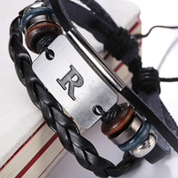 achat en gros de bracelet cuir f-Nouvelle arrivée Alphabet A F H N R Z Z Bracelet Design en cuir authentique en alliage à la main Bracelets Bracelets Bracelets Livraison gratuite