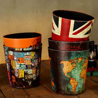 Wholesale Trash Can Large Soft Mounted Home Creative Trash Without Cover Retro Bar Living Room Decoration Storage Wastebasket Retro Nostalgia BJ13