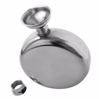 Wholesale 45pcs oz Round Stainless Steel Hip Flask Window Gold Tone Liquor Container