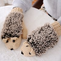 Wholesale 150pcs New Autumn Winter Gloves Women Mittens Cute Lovely Cartoon Knitted Hedgehog Glove Guantes Tacticos Girls Luva