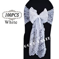 Wholesale 10PC Lace Chair Sash Bow Lace Sashes Chair Bow Tie of Wedding Decoration Vintage Lace Fabric Chair Sashes for Wedding Event Chair Cover