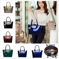 Wholesale Fashion Women Lady Satchel Handbag Patent Leather Embossing Tote Shoulder Bag