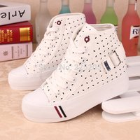 belt elevators - 2016 spring high platform elevator women canvas shoes for women lady brand shoes polka dot belt buckle casual shoes