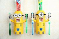 Wholesale Cute Despicable Me Minions Design Set Cartoon Toothbrush Holder Automatic Toothpaste Dispenser with Brush Cup