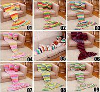 Wholesale Kids Mermaid Blanket children Sleeping Bag Mermaid Tail Soft Blankets Pillow Living Room Bedroom Sofa Super Soft Blankets