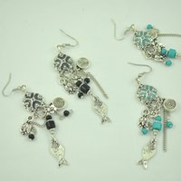 acrylic fish painting - 10Pair Blue and Gray Oil Painting Silver Casting Turquoise Beads Fish Flower Tassel Dangle Earrings E1688