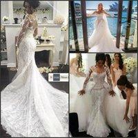 al por mayor diseños de bordado-Diseño de lujo Vestido De Movia 2016 Sheer manga larga con encaje bordado de la sirena del traje de novia con los vestidos de novia de tren desmontable